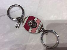 NWT COACH Oval Hadley Stripe Valet Turnlock Keychain/ Fob Key Ring /Charm #62506