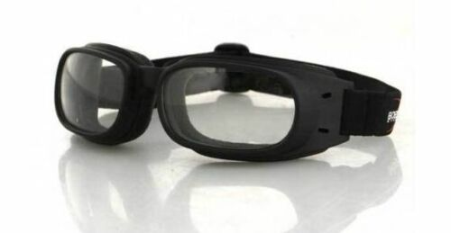 NEW BOBSTER AERODYNAMIC PISTON GOGGLE CLEAR LENS FLEXIBLE FRAME MOTORCYCLE VENT