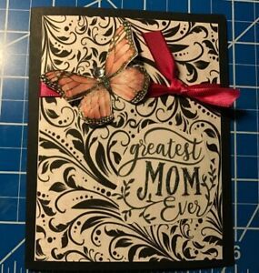 Mother-s-Day-Card-Black-Flourishes-Hot-Pink-Ribbon-And-Butterfly-Handmade