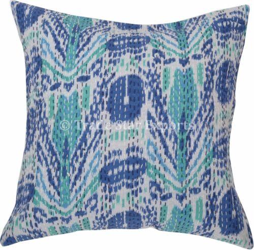 2 Pcs Indian Kantha Housse de coussin 16x16 Boho Cotton Decorative Throw Pillow Case
