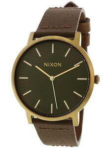 NIB-Nixon-Porter-Leather-Watch-Palm-Green-Brass-Brown-A1058-2852