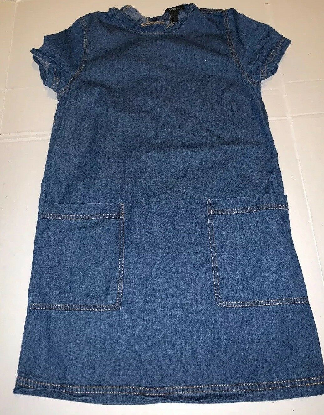 Preowned- Forever21 Dark Wash Chambray Denim Dres… - image 1