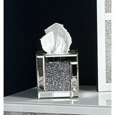 Silver Crushed Crystal Diamond Tissue Box Diamante Bling Living Room✅