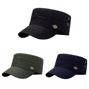 Mens Womens Adjustable Classic Army Plain Hat Cadet Military Cotton Baseball Cap