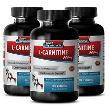 Pre Workout Super Strength Supplements L-Carnitine 500mg  Amino Acid 3 Bottle