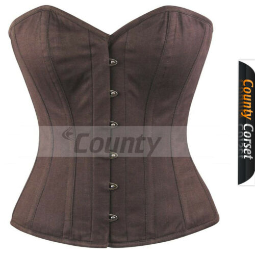 Full Steel Boned Spiral Victorian Over bust Bustier Gothic Brown Cotton Corset