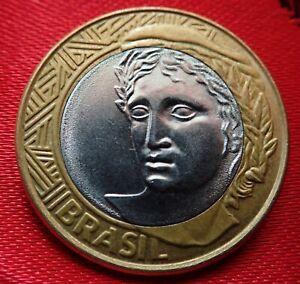 BRAZIL-2004-2008-1-Real-Bi-Metallic-COIN-symbol-Head-of-the-Republic-on-Reverse