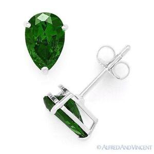Green-Pear-Shape-Cubic-Zirconia-Faux-Emerald-925-Sterling-Silver-Stud-Earrings