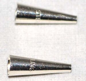 .925 Sterling Silver 3/4x5.2mm Smooth Cone Bead Jewelry Craft Spacer 2Pk