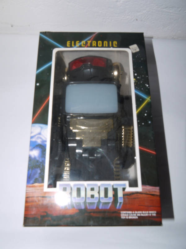 80'S VINTAGE BATTERY OPERATED ELECTRONIC ROBOT MIB