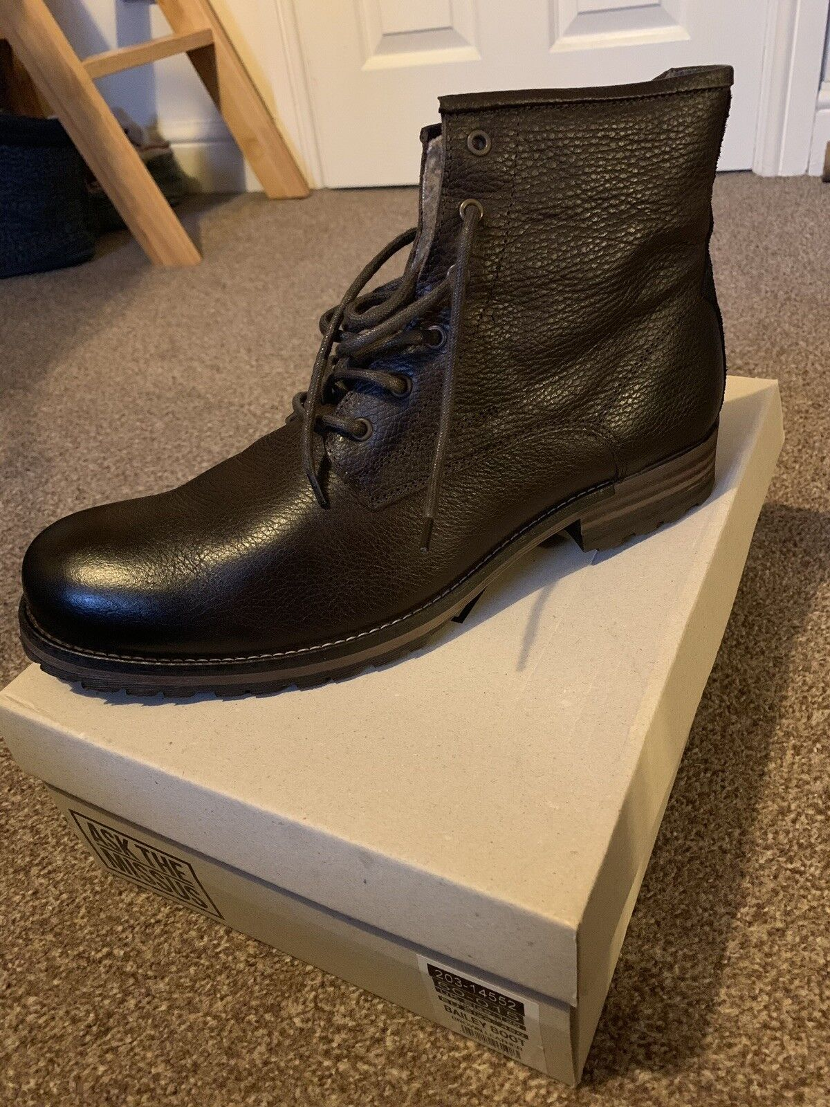 MENS ASK THE MISSUS BAILEY BROWN LEATHER FAUX FUR LACE UP ANKLE BOOTS UK SIZE 12