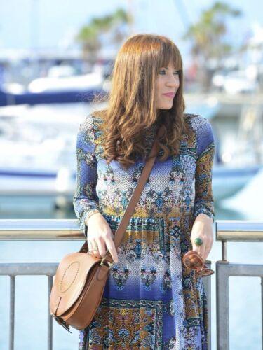 Midikleid Blumen Printed Midi Dress S Size Patchwork M Kleid Flowing Muster Zara AqFH45BwZH
