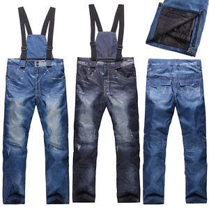 Winter-Sport-Waterproof-Men-039-s-Denim-Snow-Ski-Pants-Trousers-Windproof-Salopettes