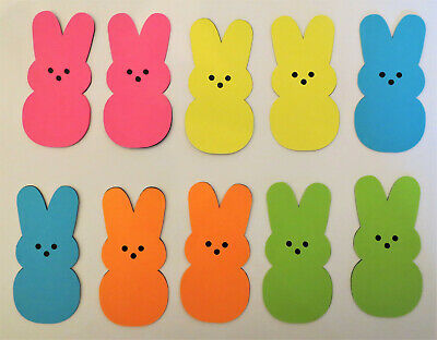 3 Embossed Bunny Die Cut Outs Embellishment Scrapbooking Light Blue Easter