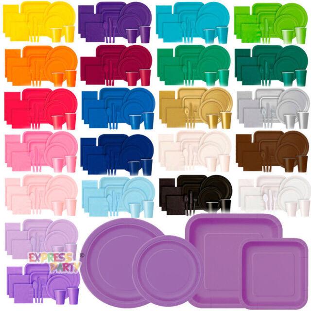 PARTY TABLEWARE PAPER PLATES  SOLID COLOUR / STRIPE / DOTS / CHEVRON DESIGN