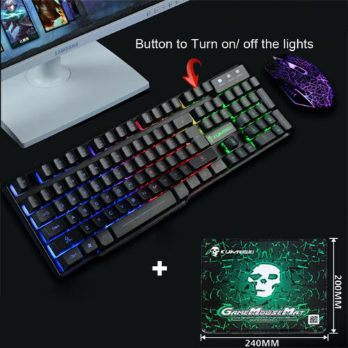 T6 Rainbow Backlight Usb Ergonomic Gaming Keyboard and Mouse Set For PC Laptop U