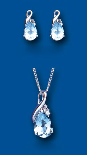 Blue Topaz and Diamond Pendant and Earrings Set Solid Sterling Silver Twist
