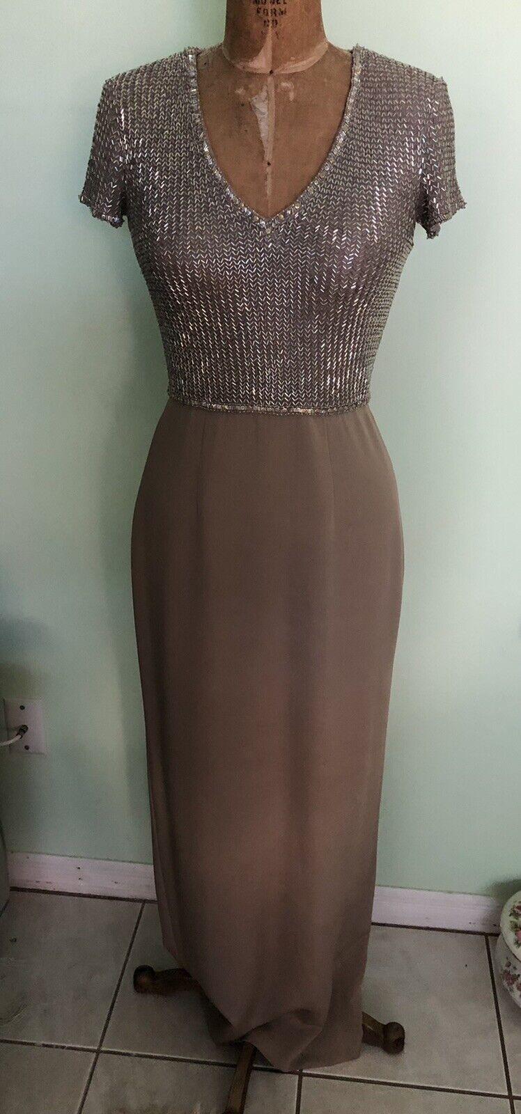 VICTORIA stunning silk silver beaded light beige evening gown size 4