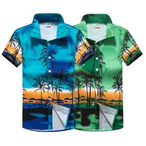 MENS-HAWAIIAN-SHIRT-BEACH-HAWAII-ALOHA-Button-Down-Casual-Short-Sleeve-Shirt