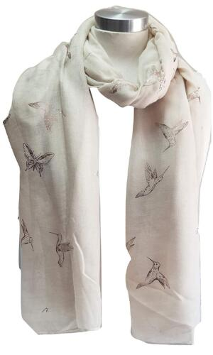 Gold Foil Hummingbird And Butterfly Scarf Scarves /& Wraps