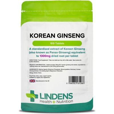 Korean Ginseng (panax) 1300mg -energy boost- (100 tablets) [Lindens 1288]