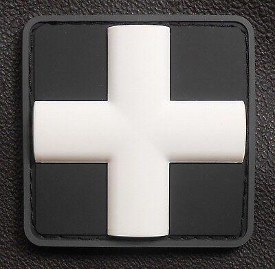 "3D PVC GLOW MEDIC CROSS EMT MEDICAL SWAT OPS VELCRO® BRAND FASTENER PATCH 1"""