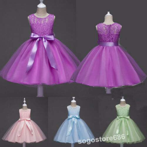 Kids Girls Princess Lace Dress Wedding Princess Dress Bridesmaid Party Ball Gown