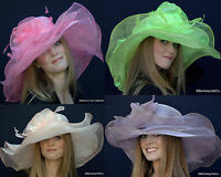 Womens Afternoon Tea Party Kentucky Derby Church Hat Sinamay Sheer & Organza