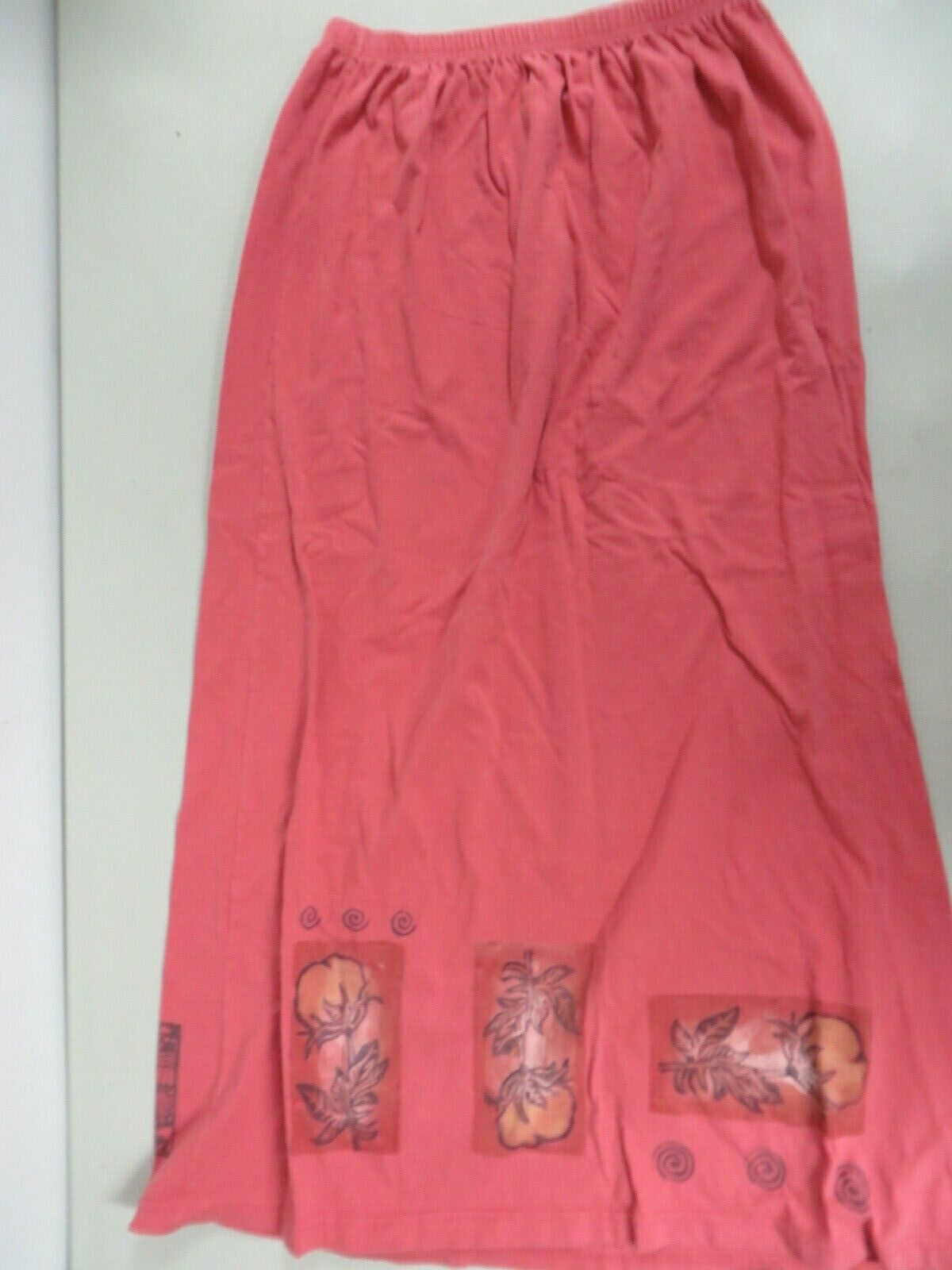 eaa9b0b9c9 bluee Fish Cotton Stretch Maxi Long Floral painted Skirt Pull-on Tangerine  Size 1