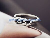 925 Sterling Silver-Size 6 Retro Hollow Weave Twisted Chain Party Lady Open Ring