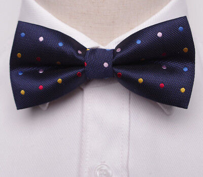 Men/'s Bowtie Navy Blue Pink Polka Dots Groomsmen Wedding Prom Self Tied Bow Tie