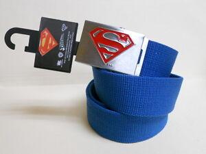 NWT-Mens-DC-Comics-SUPERMAN-Blue-Canvas-Silver-Buckle-adjustable-BELT-one-size