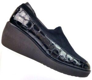 83003912e7fa69 Donald J Pliner Norma Black Patent Croc Print Suede Wedge Loafer ...