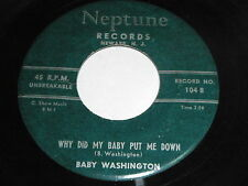 Baby Washington: Why Did My Baby Put Me Down / The Bells 45 - Soul
