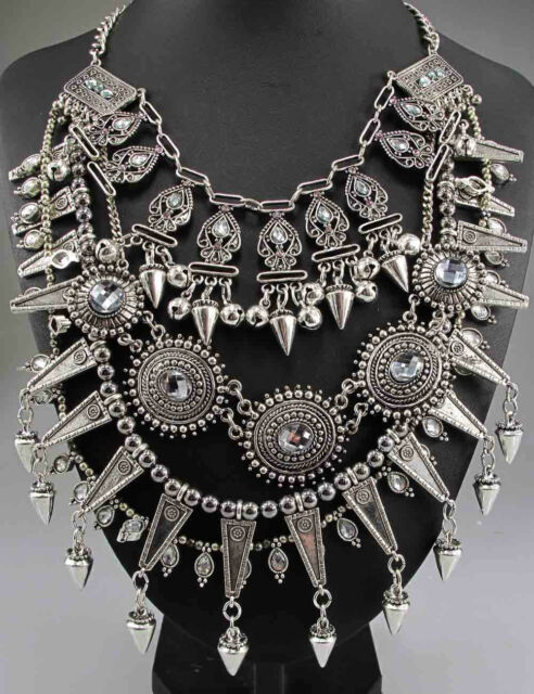 New elegant Design Lady Statement silver crystal multi chunky charm necklace