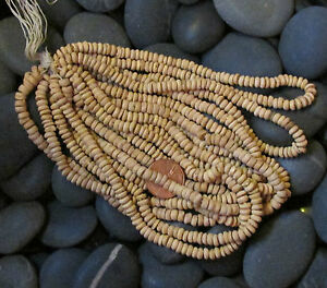 10 Wooden Heishi Strands-5mm Rondelles-Hank of Light Tan Wood-800 to 1000 Beads