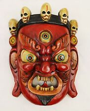 F995 Hand Crafted Wooden Mask of Bhairab Mahakal Wall Hanging Made In Nepal