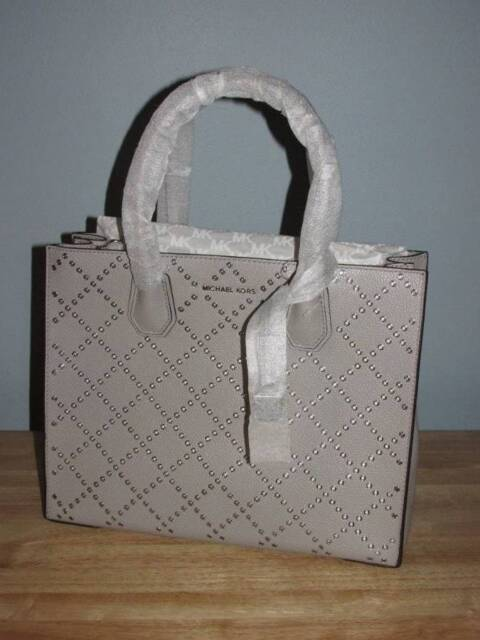 Michael Kors Leather Pearl Grey Grommet Mercer Large Convertible Tote Purse