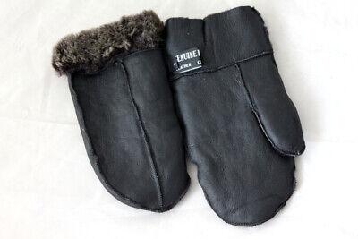 Fausthandschuh Lammfell Fäustlinge echtes Leder Handschuhe braun Gr M XL NEU R00