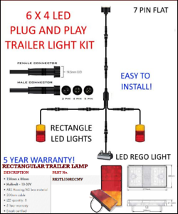 6x4 Trailer Led Wire Kit Easy To Install Plug And Play Wiring Rectangle Easy Ebay