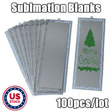 Us Stock Silver 100pcs Metal Bookmark With Dents Sublimation Blank For Xmas Gift