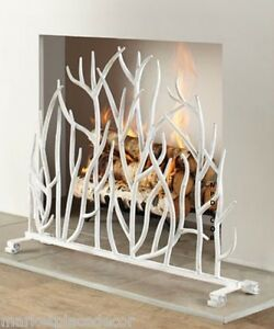 Details About White Branch Fireplace Screen French Country Cottage Chic Iron Twig 38 5 W
