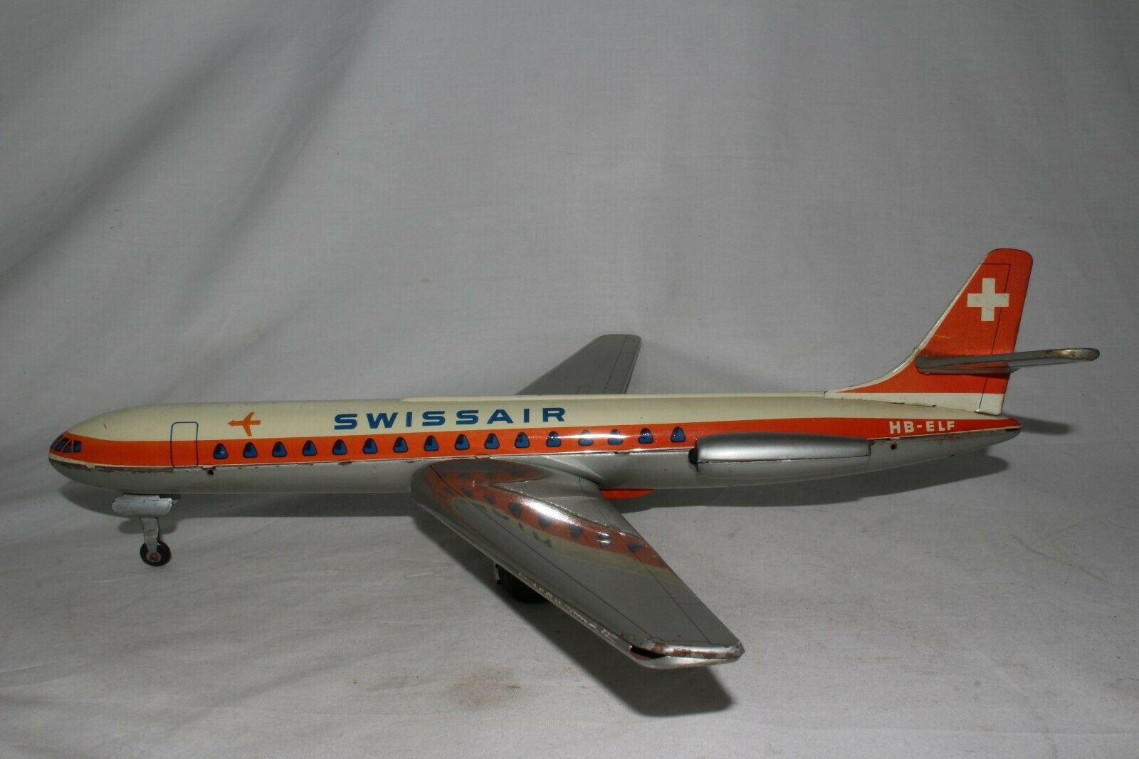 1960's Arnold Made in Germany Swissair Tin Friction Airplane, Nice Original