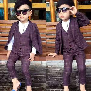 bbda5f1fa6 3PC Baby Kids Boys Suits Waistcoat Check Blazer Suit Party Wedding ...