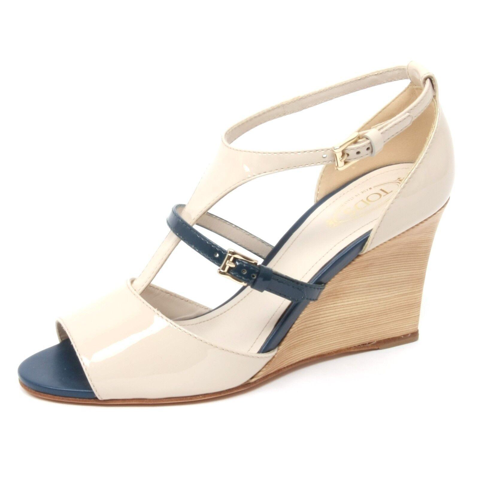 B367 Sandal kvinnor TOD's t85 skor Wedge ljus Beige  blå Sandal skor kvinna