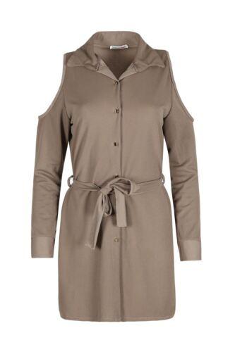 Womens Collar Turn Up Belt Top Ladies Cold Shoulder Gold Button Shift Mini Dress
