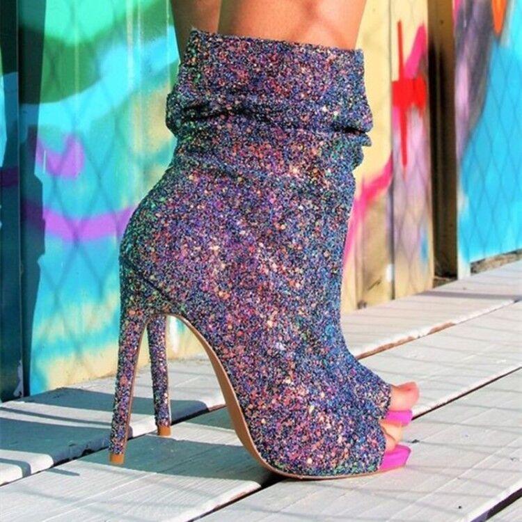 Femmes Bout Ouvert Paillettes Bottines femmes Talon Haut Club chaussures Sandales Pompe