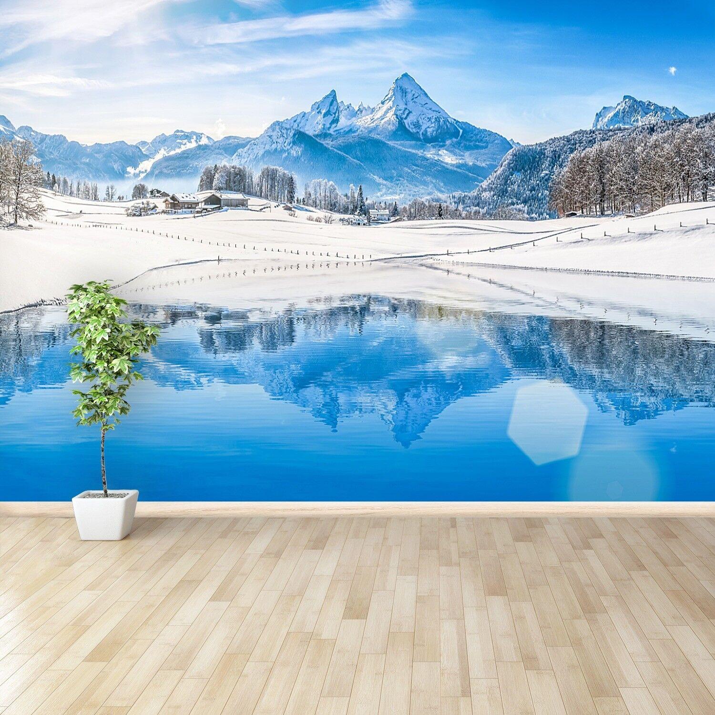 Vlies-Fototapete Fototapeten Tapete aus Vlies Poster Foto Winter Alpen