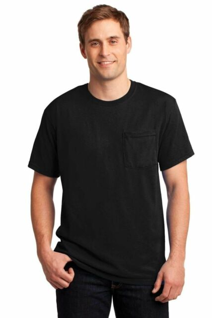 XL XLarge JERZEES Black Pocket T-shirt Blank Plain Discontinued Stock