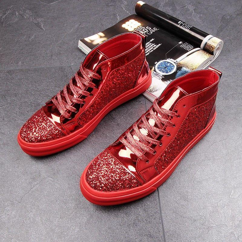 1e69fb42a9f9 Men Sneakers shoes Sequins bling shiny High Top Sport Athletic ankle boot